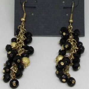 Earrings Drop Dangle Black Beaded Cluster 1369